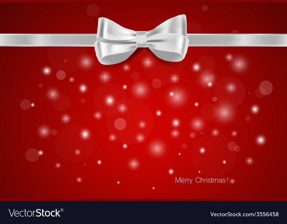 Christmas background gift bow and shiny ribbon vector | Price: 1 Credit (USD $1)