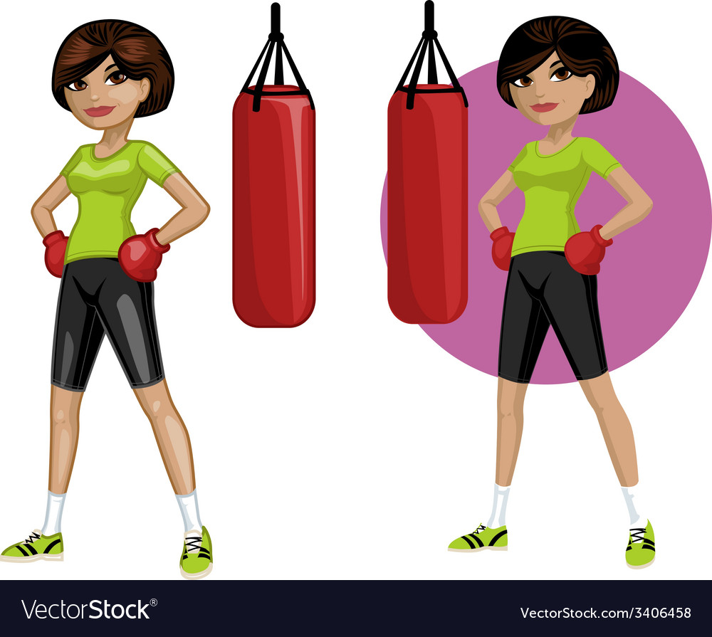 Cute young indonesian woman boxer vector | Price: 3 Credit (USD $3)