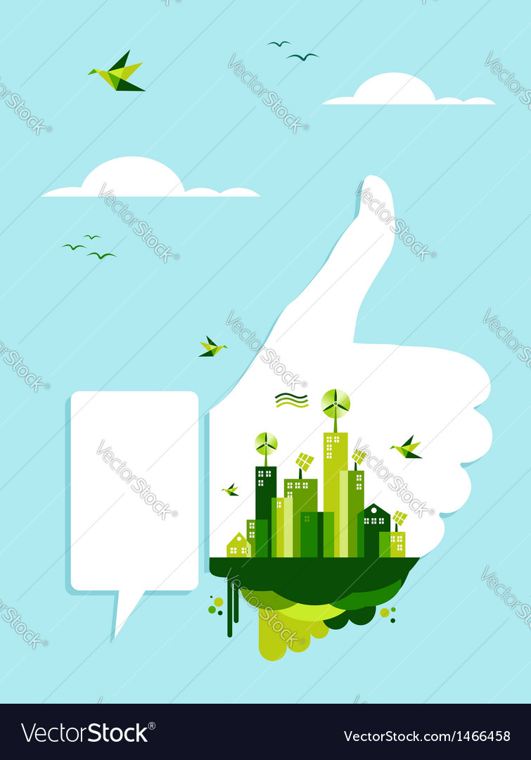 Go green thumb up hand vector | Price: 1 Credit (USD $1)