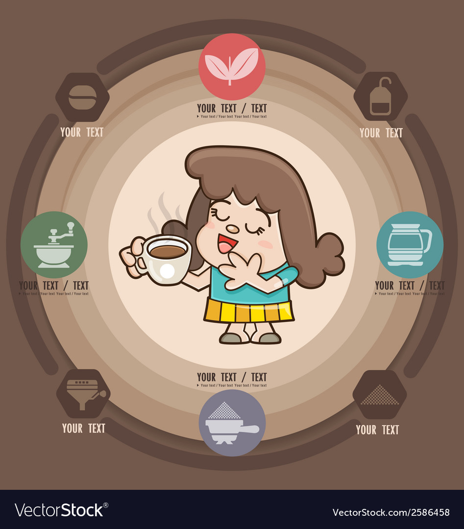 Happy girl with cup of coffee icons vector | Price: 1 Credit (USD $1)