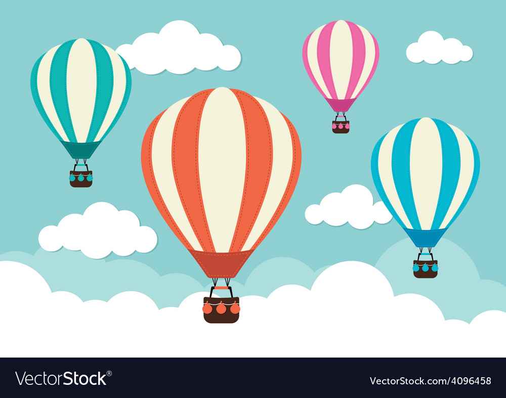 Hot air balloon and clouds vector | Price: 1 Credit (USD $1)