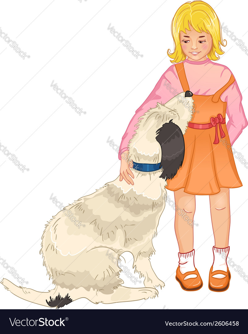 Little girl strokes a dog vector | Price: 1 Credit (USD $1)