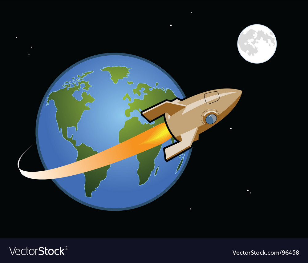 Rocket to the moon vector   Price: 1 Credit (USD $1)