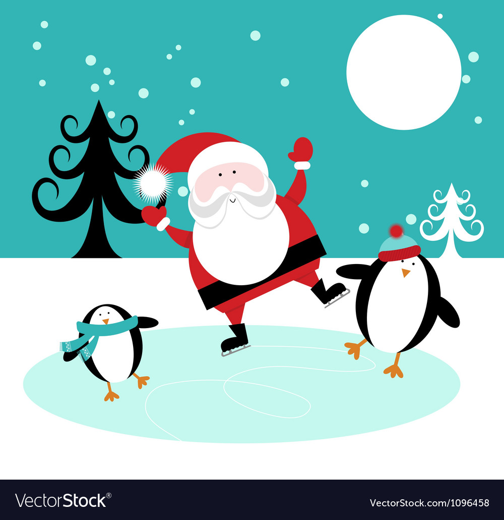 Santa and penguins skating on ice vector | Price: 1 Credit (USD $1)