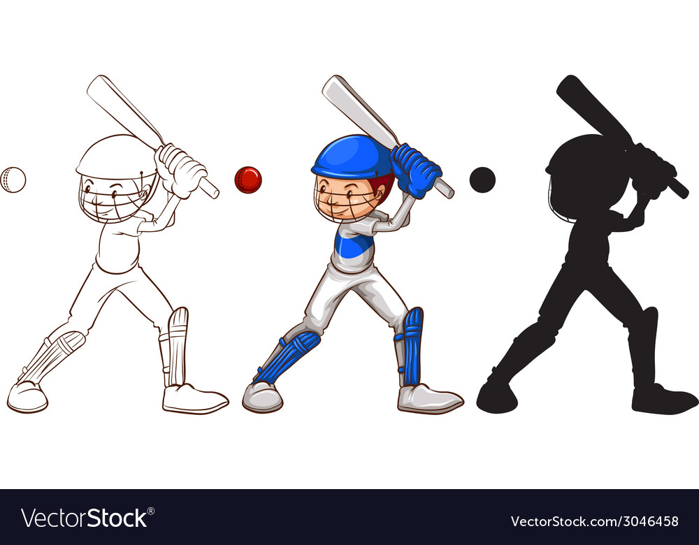 Sketches of a man playing baseball vector | Price: 1 Credit (USD $1)