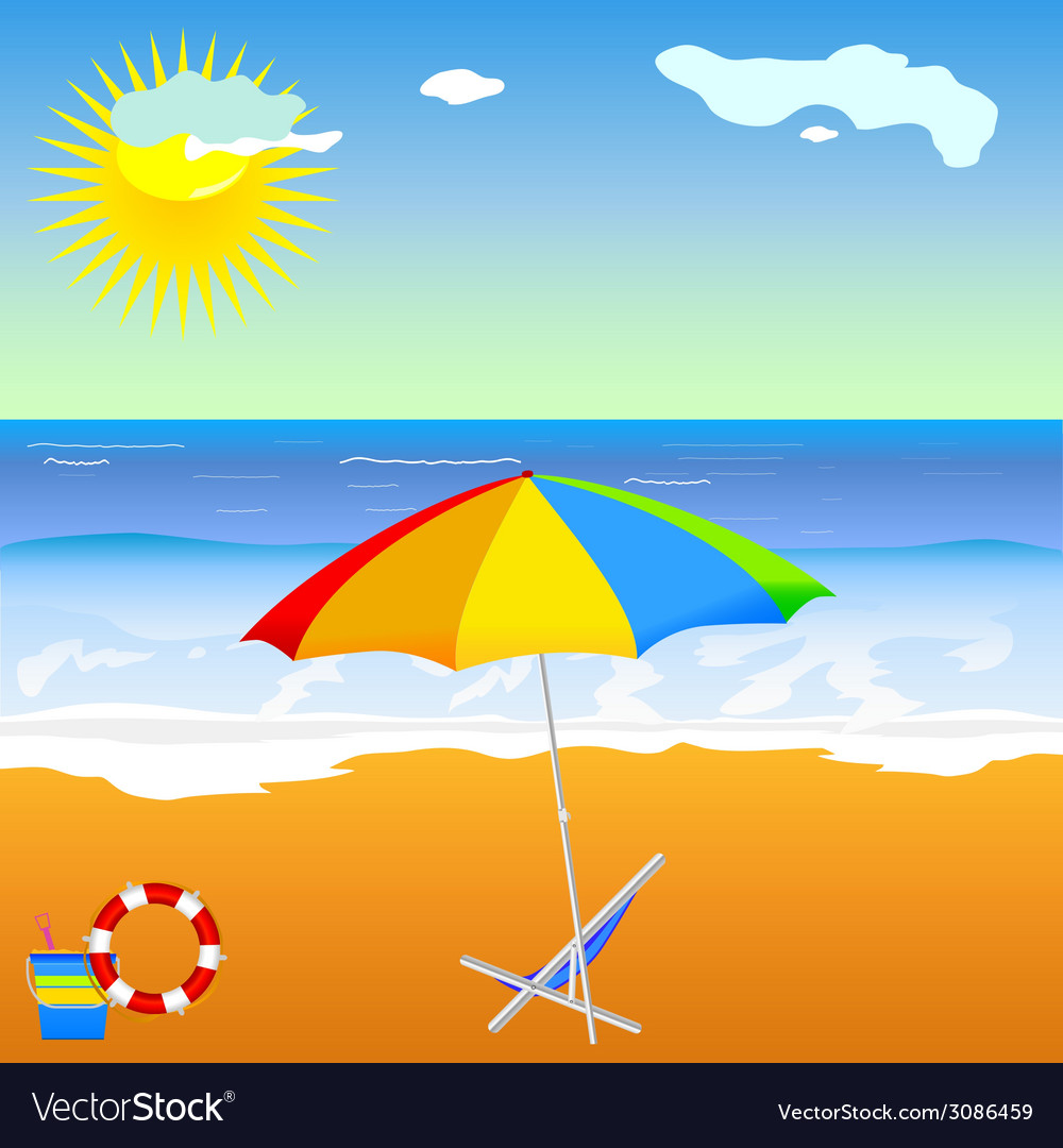 Beach beauty with umbrella vector | Price: 1 Credit (USD $1)