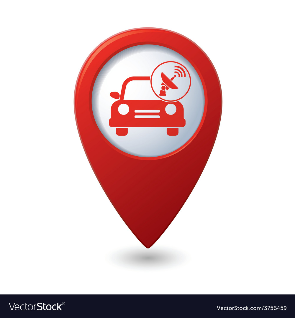 Cars satelite red pointer vector | Price: 1 Credit (USD $1)