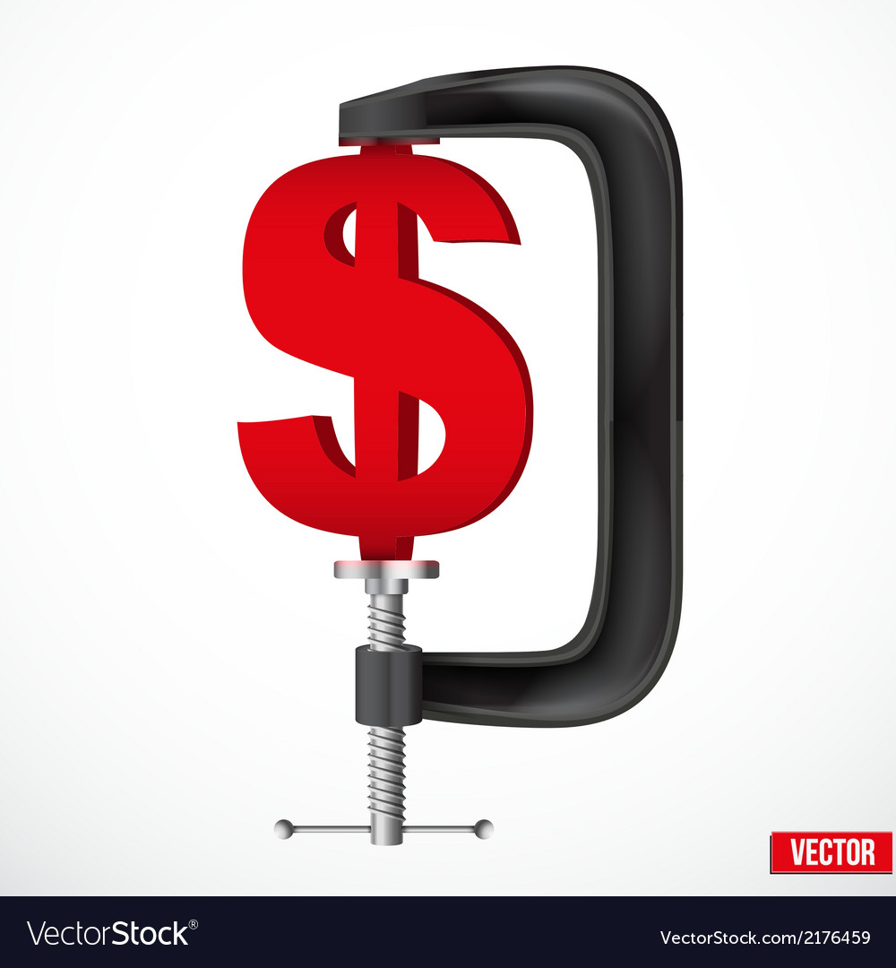 Currency symbol dollar being squeezed in a vice vector | Price: 1 Credit (USD $1)