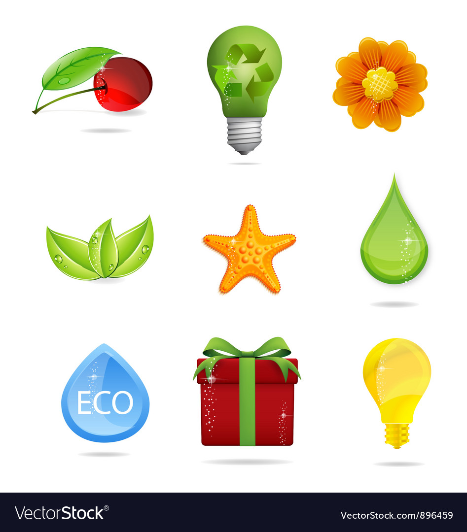 Nature and eco symbols big set vector | Price: 3 Credit (USD $3)