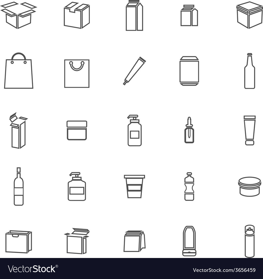 Packaging line icons on white background vector | Price: 1 Credit (USD $1)