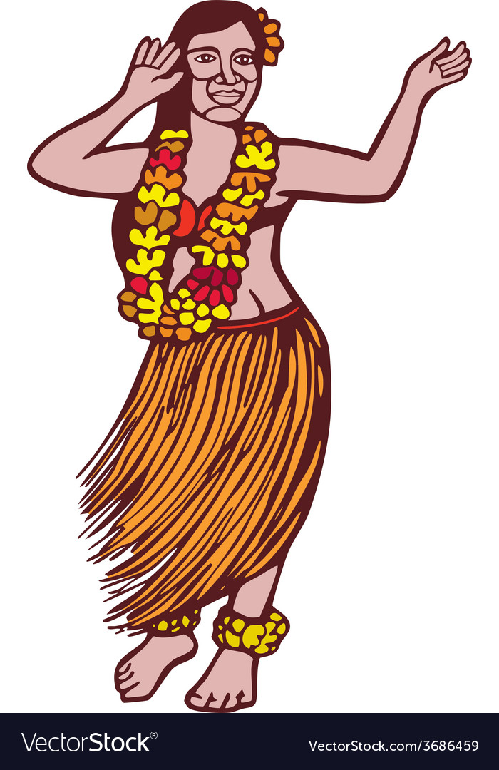 Polynesian dancer grass skirt linocut vector | Price: 1 Credit (USD $1)