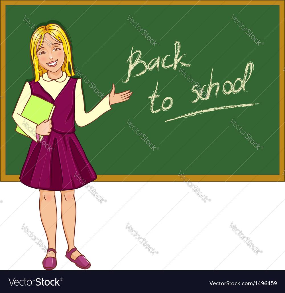 Schoolgirl at blackboard vector   Price: 1 Credit (USD $1)