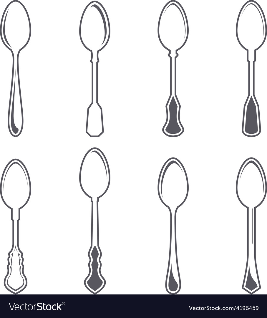 Set of eight tablespoons vector   Price: 1 Credit (USD $1)