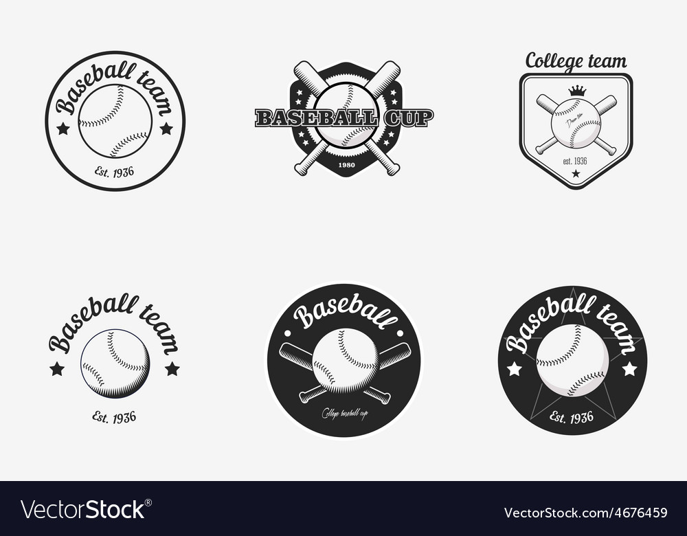 Set of vintage black and white baseball vector | Price: 1 Credit (USD $1)