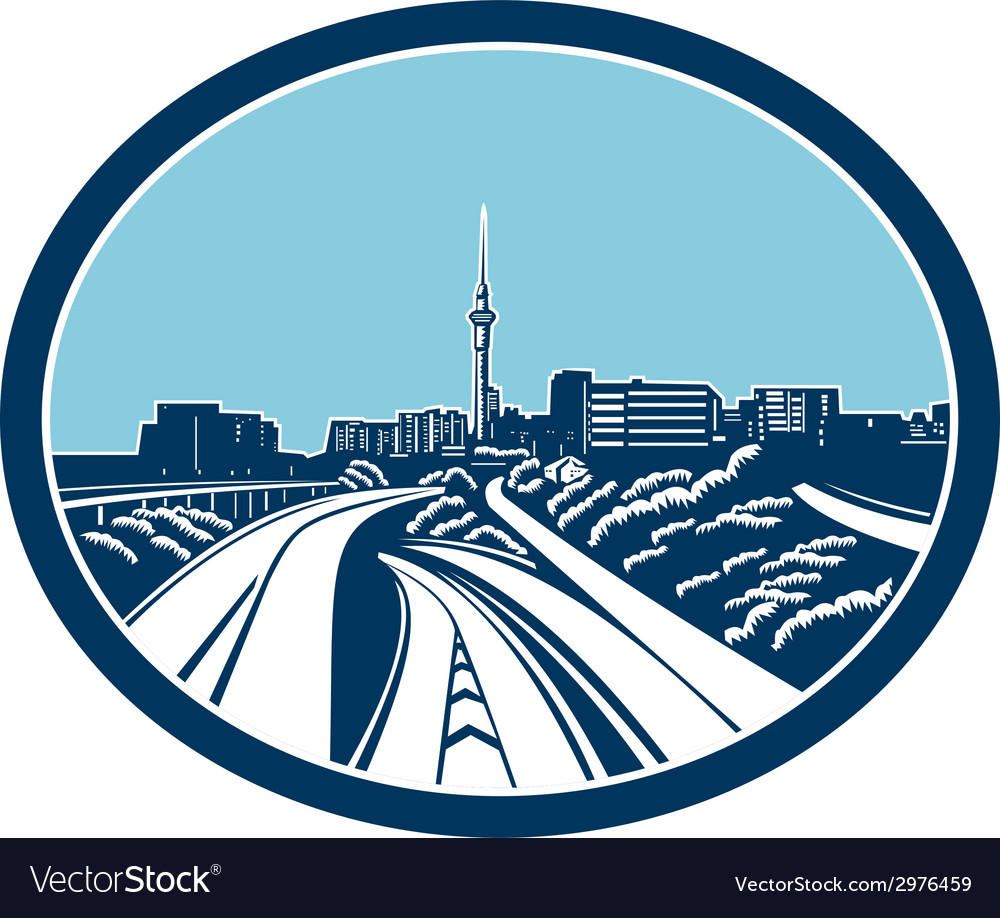 Sky tower auckland woodcut retro vector | Price: 1 Credit (USD $1)