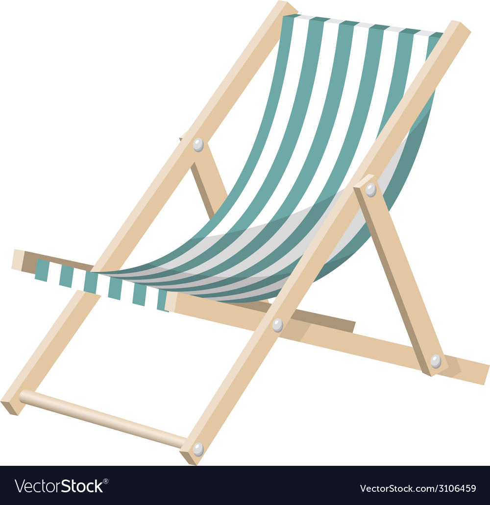 Striped sunchair isolated over white vector