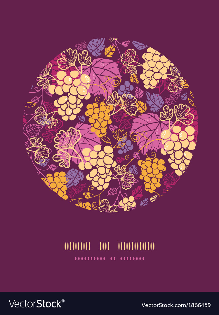 Sweet grape vines circle decor pattern background vector | Price: 1 Credit (USD $1)