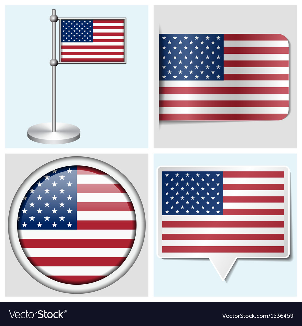 Usa flag - sticker button label and flagstaff vector | Price: 1 Credit (USD $1)