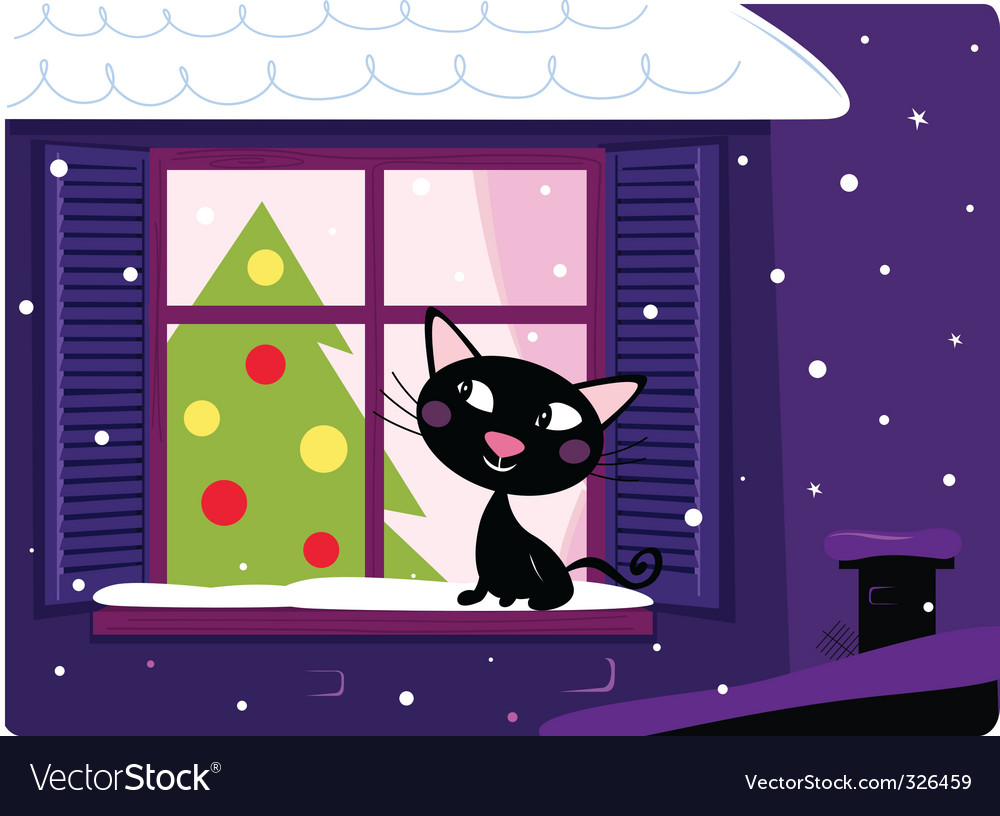 Xmas cat look through window vector | Price: 3 Credit (USD $3)