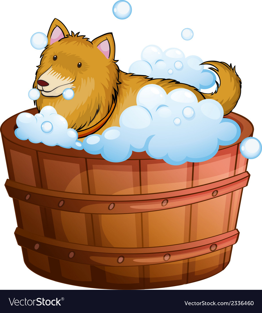 A big dog at the bathtub vector | Price: 1 Credit (USD $1)