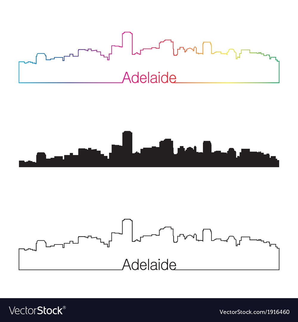 Adelaide skyline linear style with rainbow vector | Price: 1 Credit (USD $1)