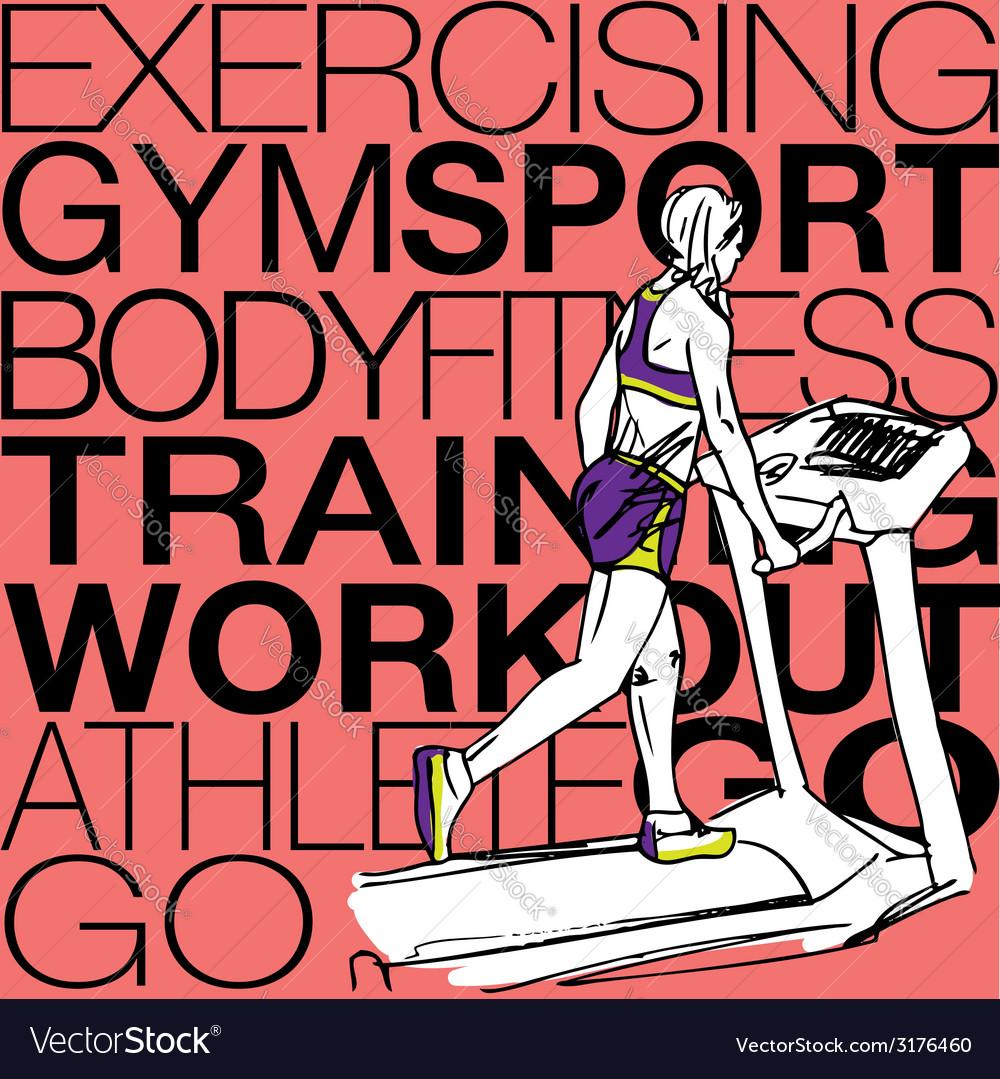 Athletic woman on gym class walk treadmill runni vector   Price: 1 Credit (USD $1)