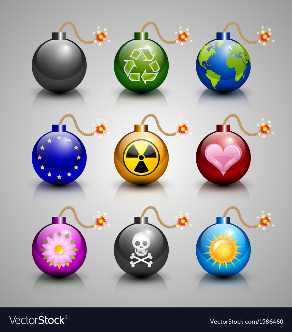 Burning bomb icons vector | Price: 1 Credit (USD $1)