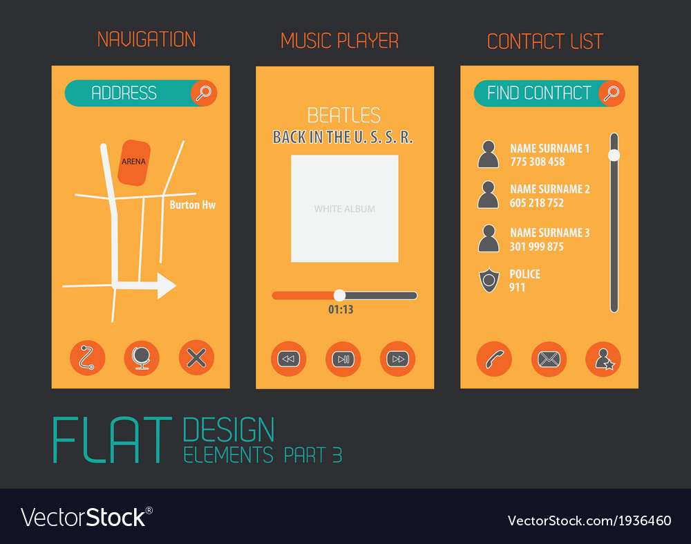 Flat design template for mobile devices - vector | Price: 1 Credit (USD $1)