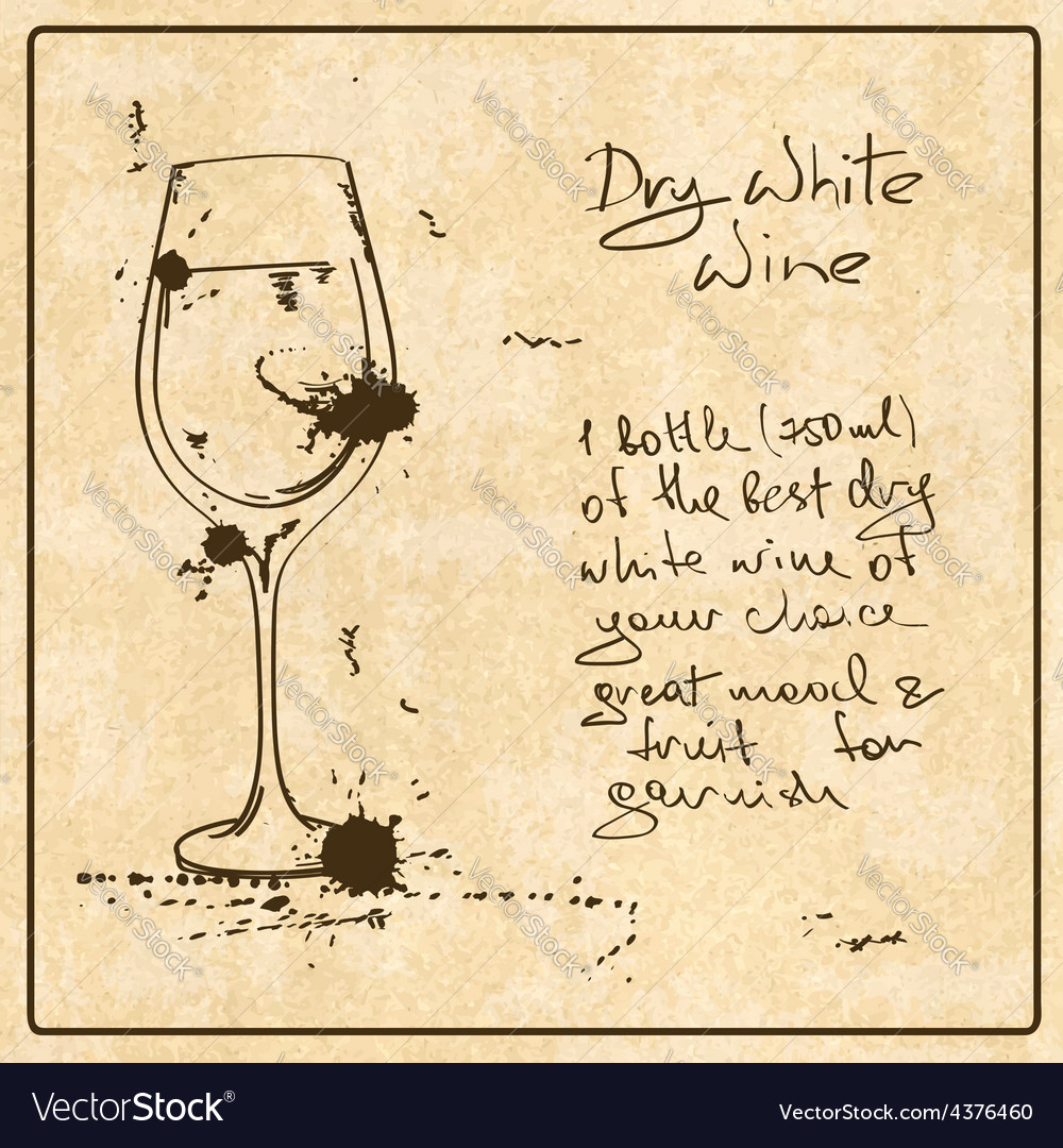 Hand drawn white wine vector | Price: 1 Credit (USD $1)