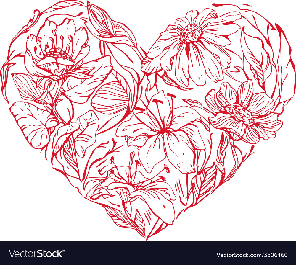Heart flowers vector | Price: 1 Credit (USD $1)