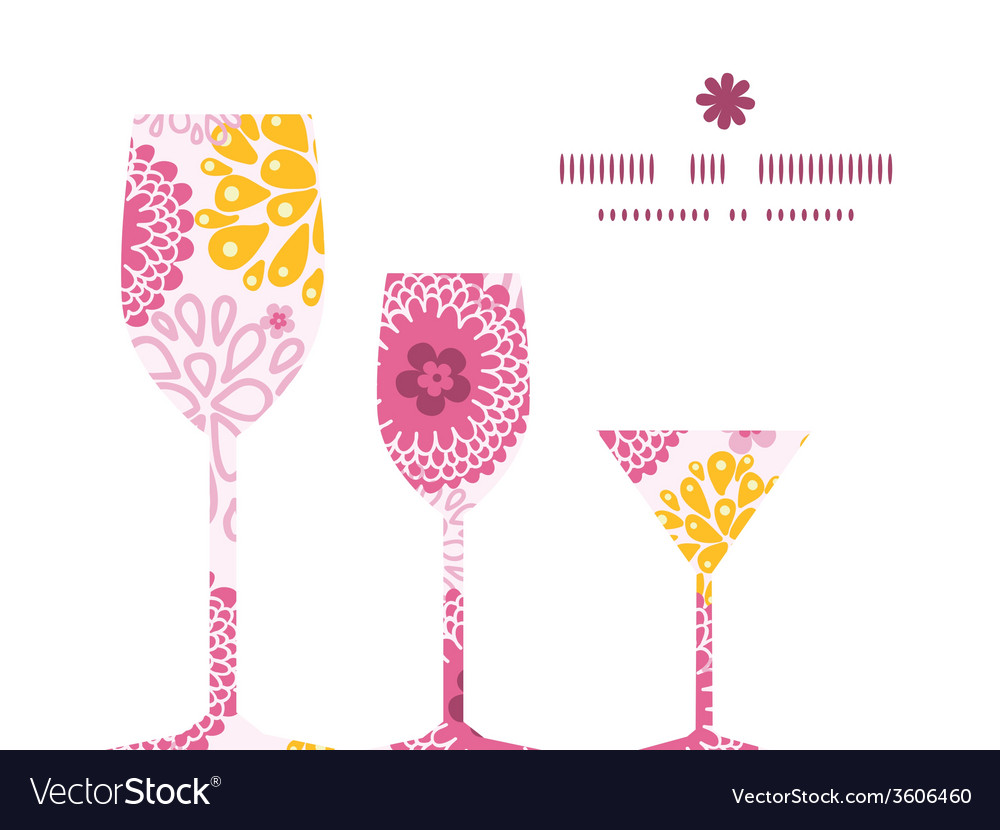 Pink field flowers three wine glasses silhouettes vector | Price: 1 Credit (USD $1)