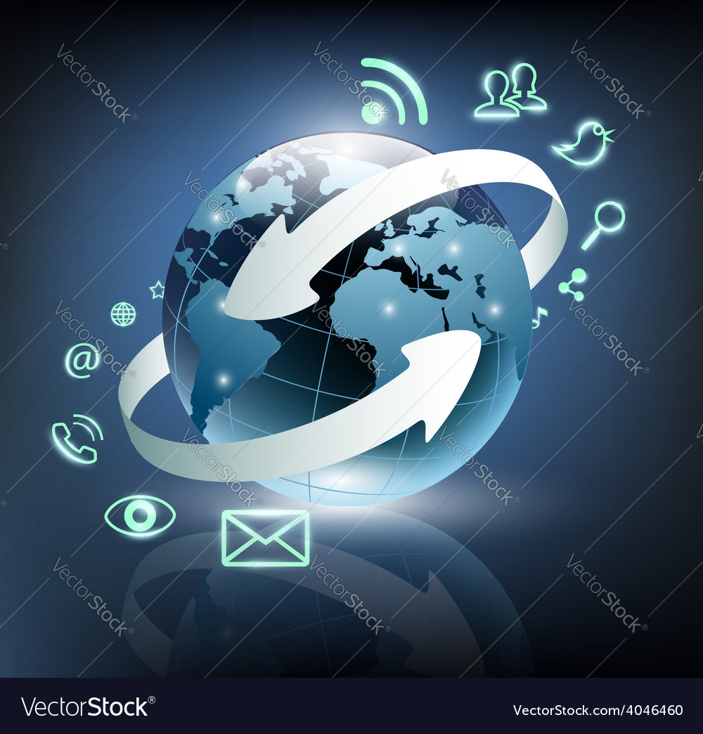 Social media icons are turning around the planet vector | Price: 1 Credit (USD $1)