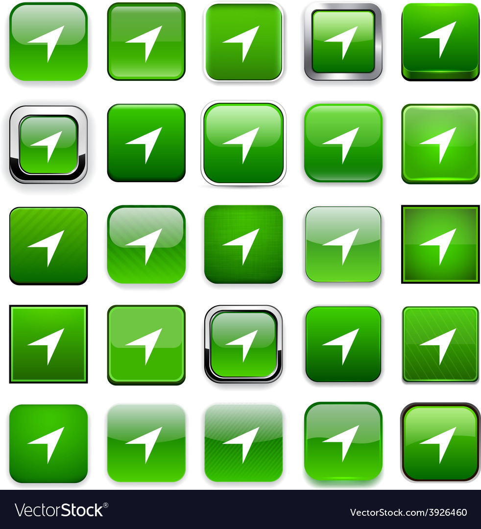 Square green gps icons vector | Price: 1 Credit (USD $1)