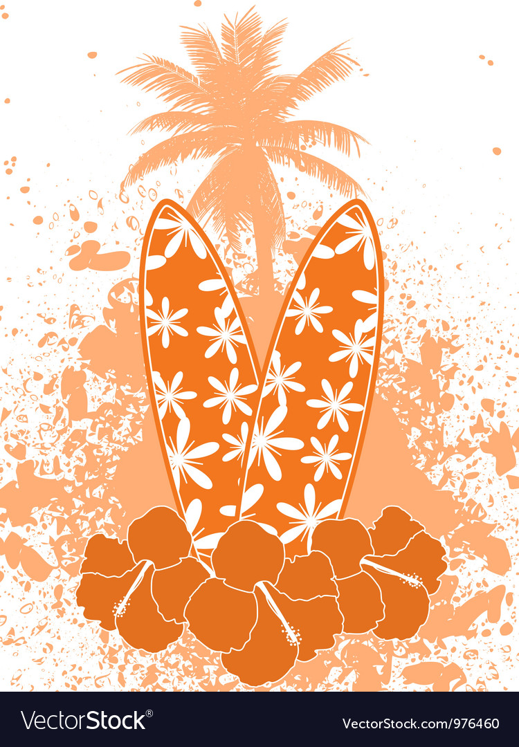 Tropical surfing background vector | Price: 1 Credit (USD $1)