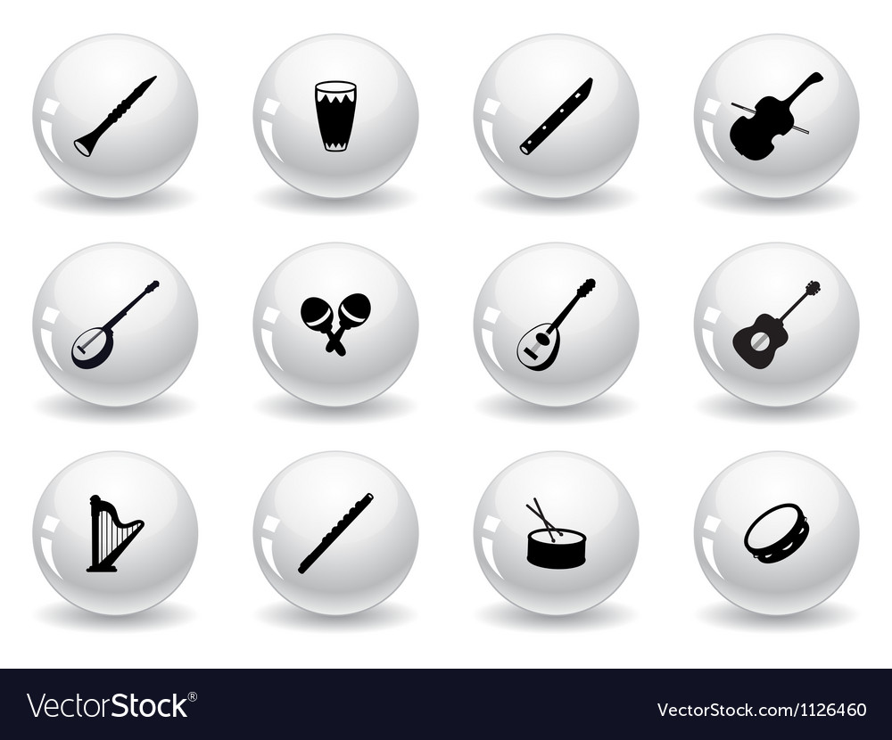 Web buttons musical instrument icons vector | Price: 1 Credit (USD $1)