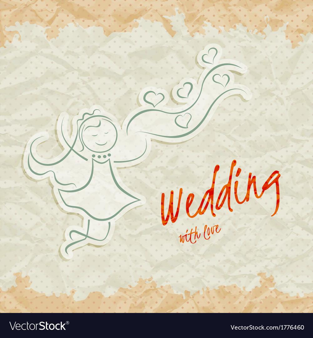 Wedding invitation card with beautiful bride vector | Price: 1 Credit (USD $1)