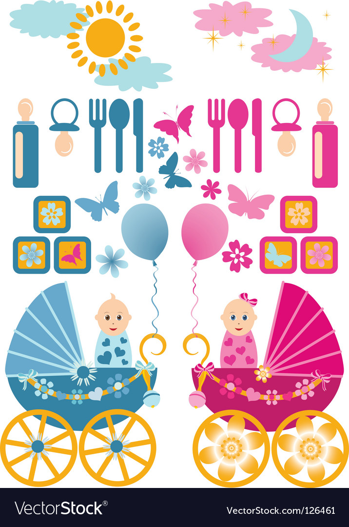 Baby set en blue pin vector | Price: 1 Credit (USD $1)
