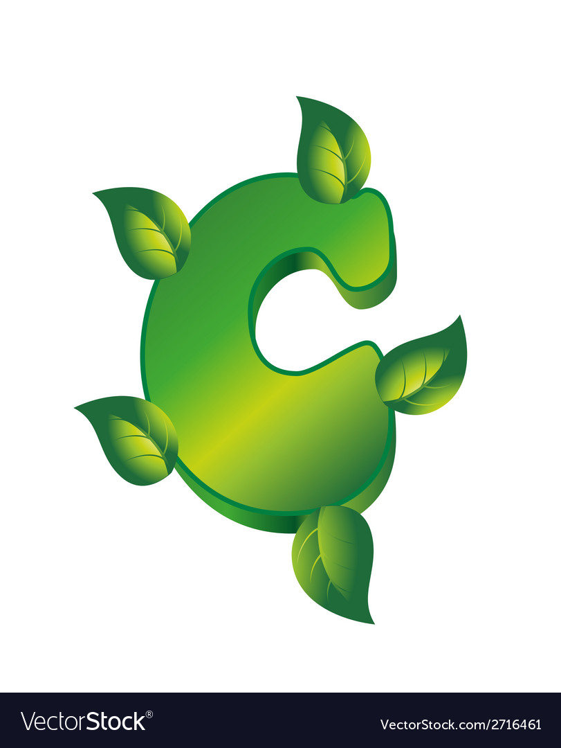 C letter logo with green leaf eco vector | Price: 1 Credit (USD $1)