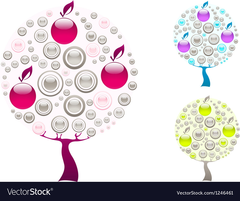 Grey purplr and green trees vector | Price: 1 Credit (USD $1)