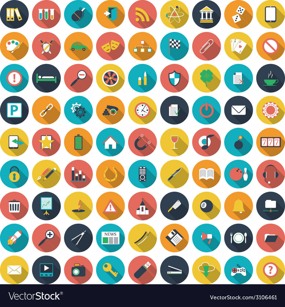 Modern flat icons collection with long shadow vector | Price: 1 Credit (USD $1)