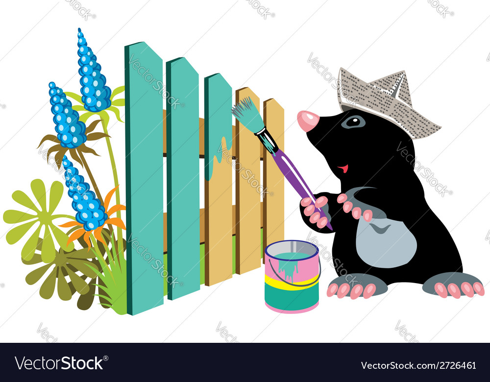 Mole painting a fence vector | Price: 1 Credit (USD $1)