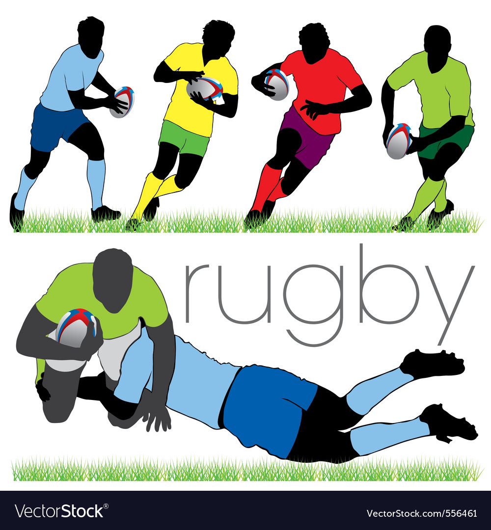 Rugby players silhouettes set vector | Price: 1 Credit (USD $1)