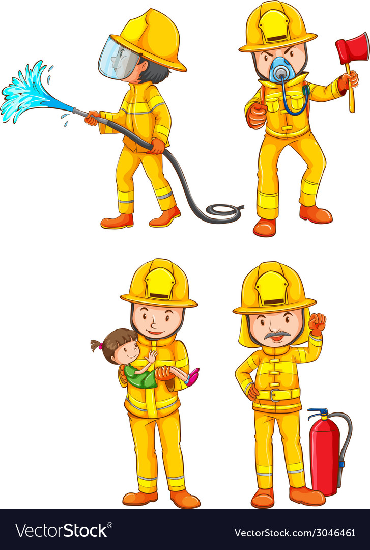 Simple sketches of the firemen vector | Price: 1 Credit (USD $1)
