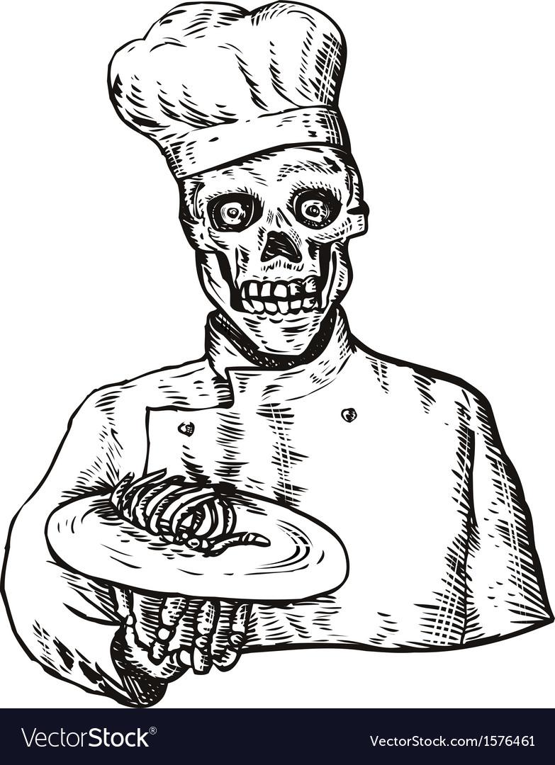 Skeleton chef cook vector | Price: 1 Credit (USD $1)