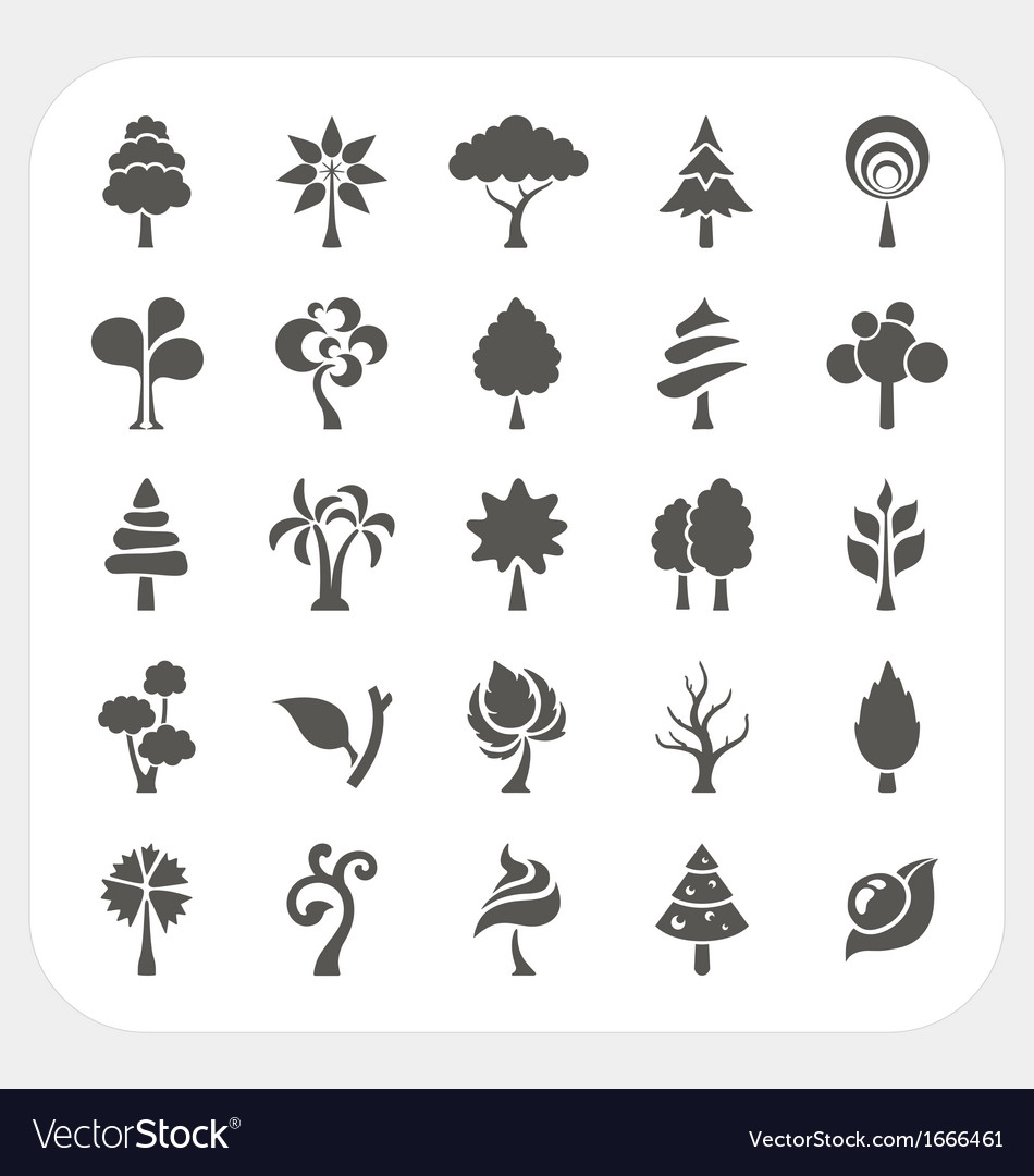 Tree icons set vector | Price: 1 Credit (USD $1)