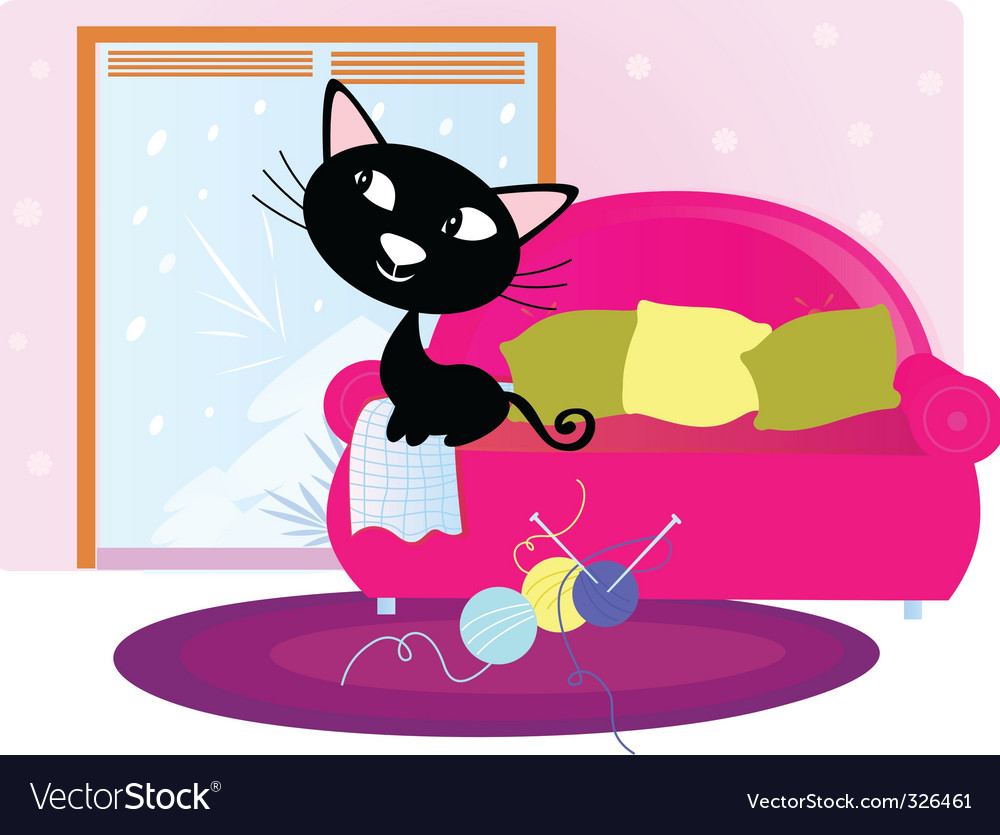 Xmas cat sitting on sofa vector | Price: 3 Credit (USD $3)