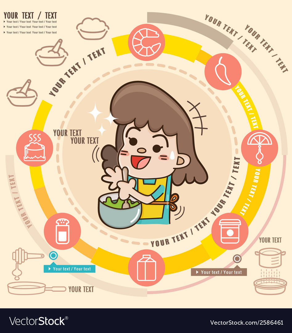 Young girl in the kitchen cooking vector | Price: 1 Credit (USD $1)