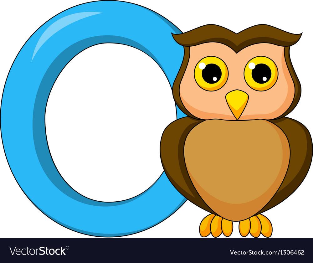 Alphabet o with owl cartoon vector | Price: 1 Credit (USD $1)