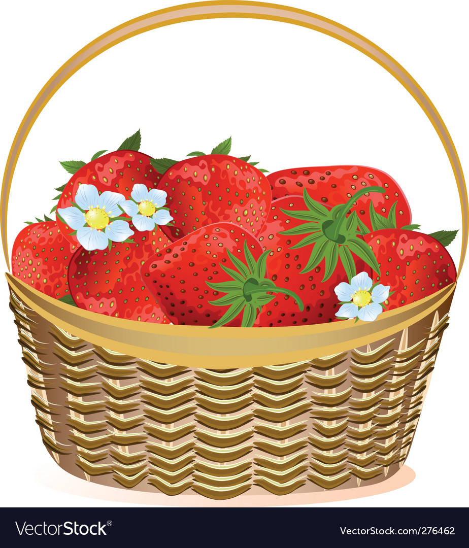Basket of strawberries with flowers vector | Price: 1 Credit (USD $1)