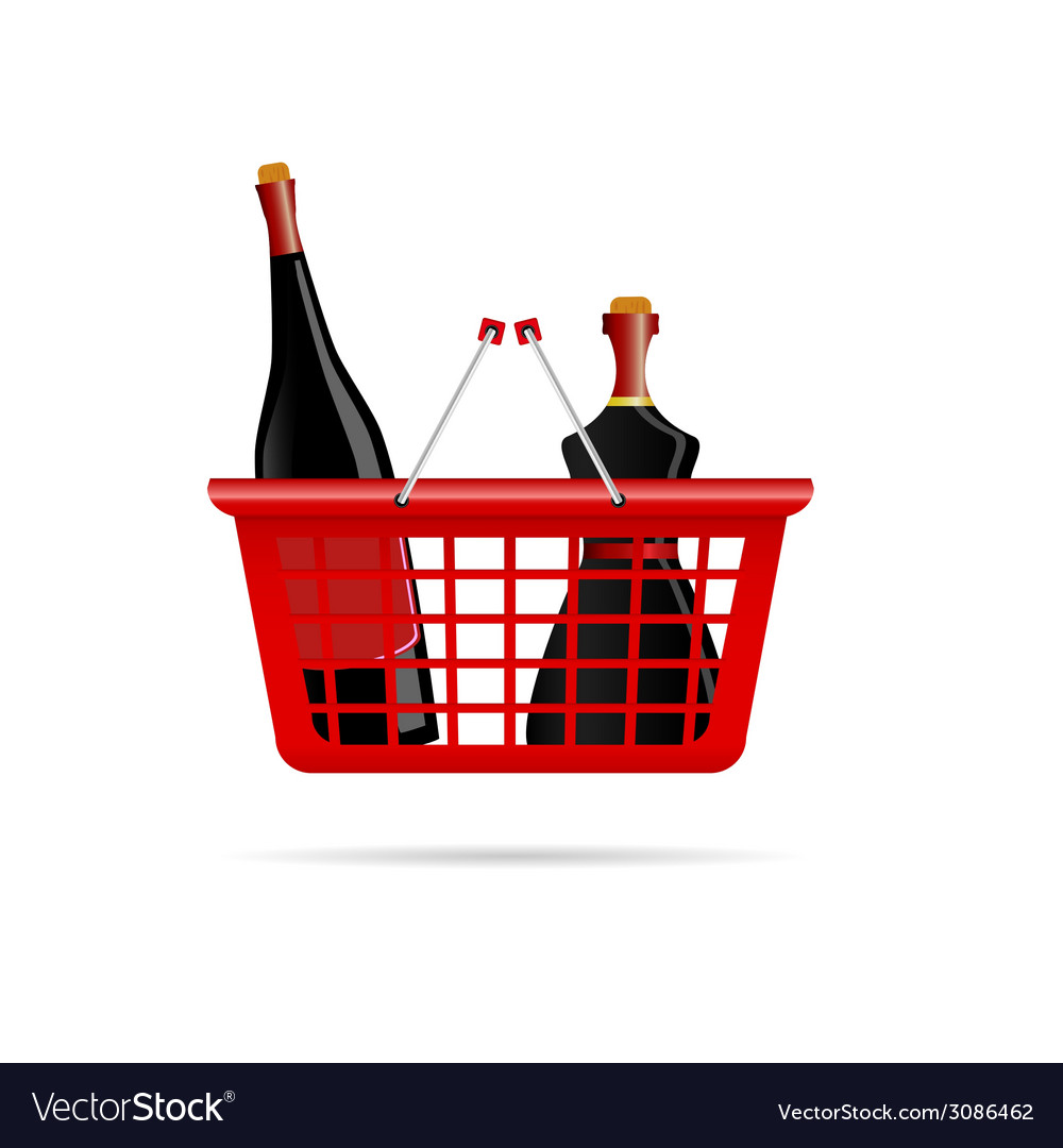 Basket with bottle of wine color vector | Price: 1 Credit (USD $1)